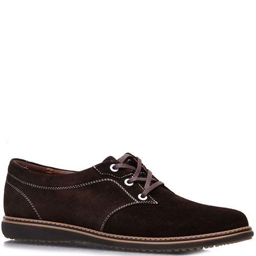 Туфли Prego из натуральной замши коричневого цвета на шнуровке, фото