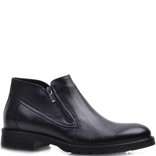 Ботинки Prego зимние на меху до щиколотки черного цвета с молниями по бокам, фото