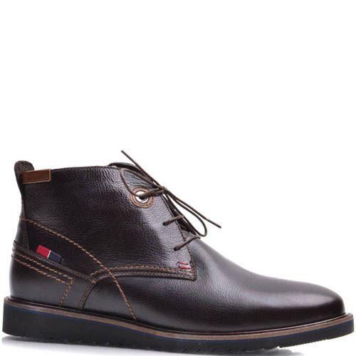 Ботинки-дезерты Prego зимние коричневого цвета с тонкими шнурками, фото