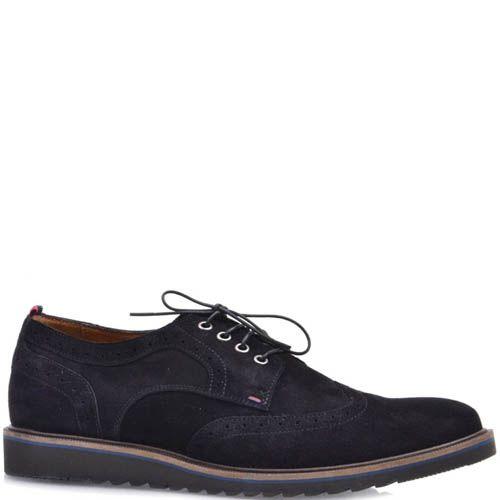 Туфли-броги Prego черного цвета замшевые с тонкой синей линией вдоль подошвы, фото