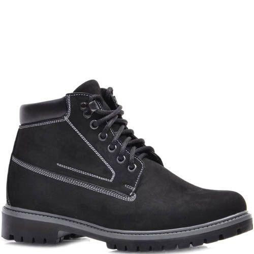 Ботинки Prego зимние черного цвета из нубука с белыми строчками, фото