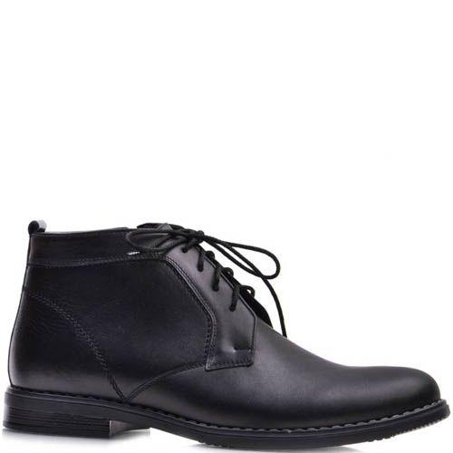 Ботинки Prego зимние черного цвета со вставкой из нубука, фото