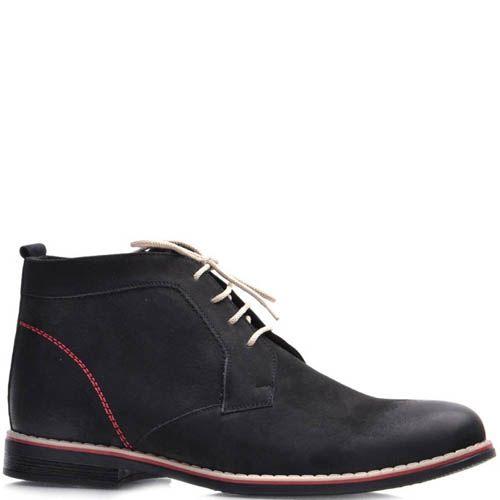 Ботинки Prego зимние из нубука черного цвета с белыми шнурками и красными строчками, фото
