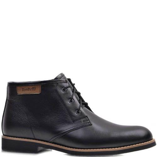 Ботинки Prego зимние из кожи черного цвета с коричневой вставкой вдоль подошвы, фото
