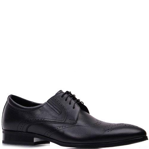 Туфли-броги Prego из натуральной кожи черного цвета на шнуровке, фото