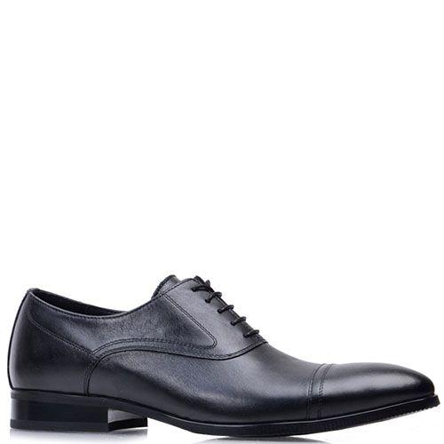 Кожаные лоферы Prego черного цвета на шнуровке, фото