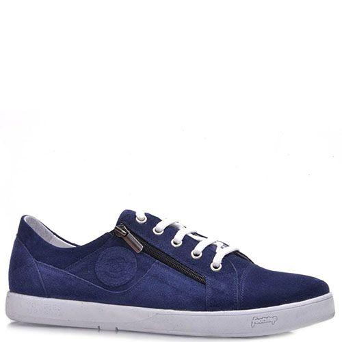 Замшевые кеды Prego синего цвета на шнуровке с молниями по бокам, фото