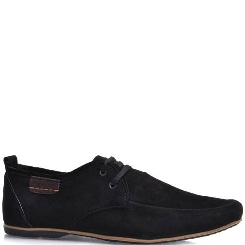 Туфли Prego мужские замшевые черного цвета с кожаной нашивкой, фото