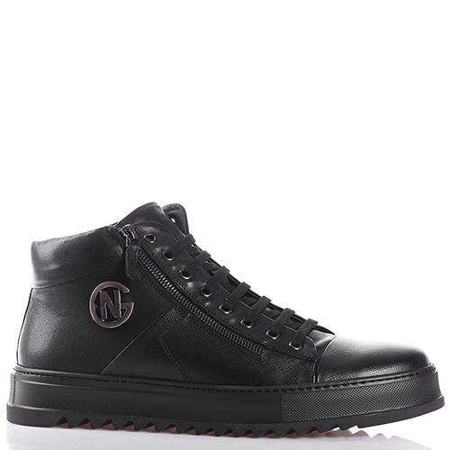 Черные ботинки Giampiero Nicola из кожи с тиснением сафьяно, фото