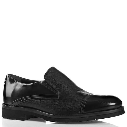 Черные туфли Giampiero Nicola из комбинации гладкой и зернистой кожи, фото
