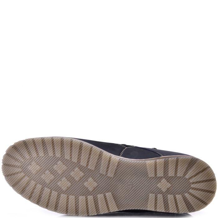 Ботинки зимние Lucky Choice из темно-синего нубука с бежевыми шнурками