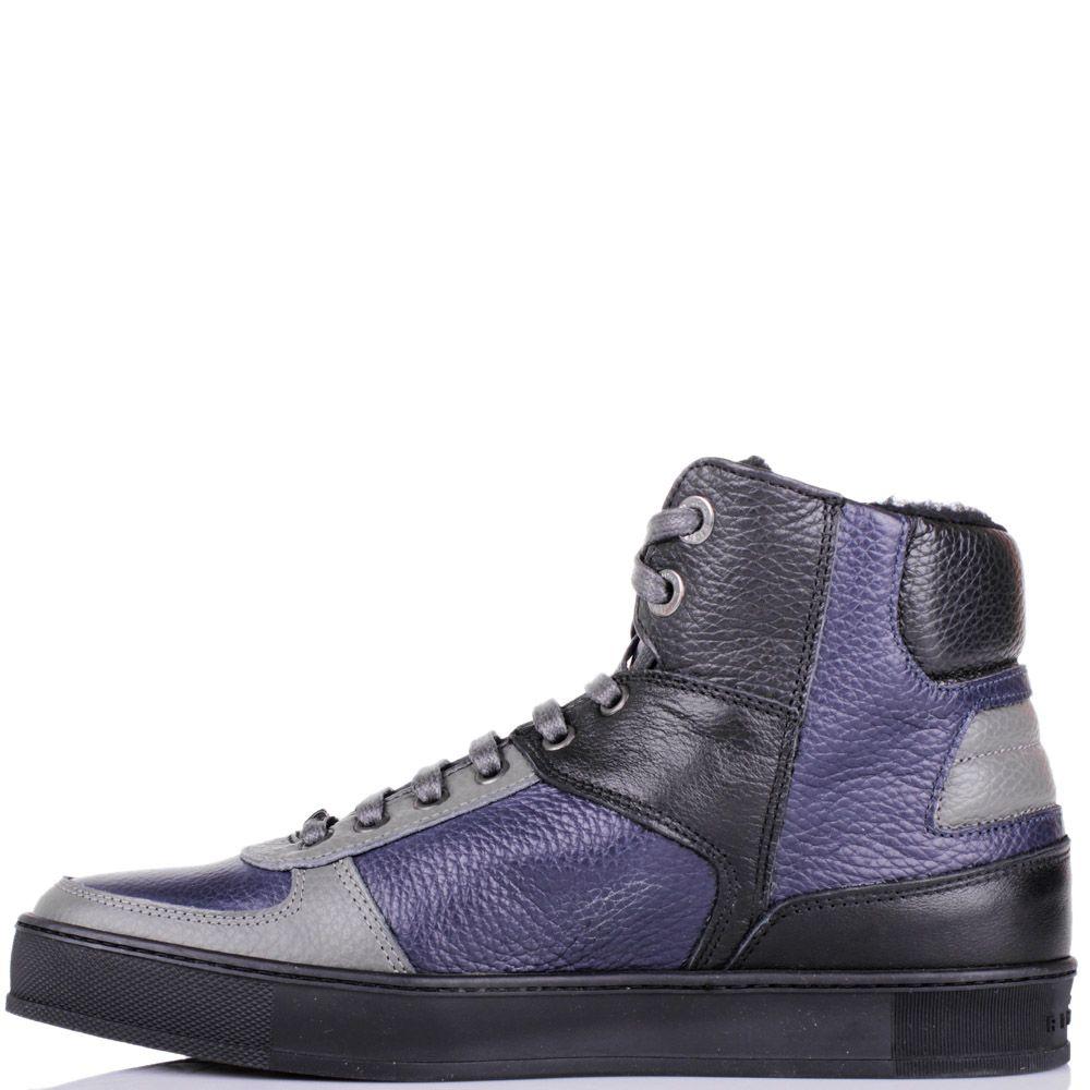 Ботинки John Richmond зимние синего цвета со вставками из синей и серой кожи