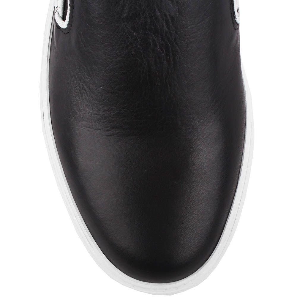 Кожаные мокасины Richbobois черного цвета с вставкой-резинкой