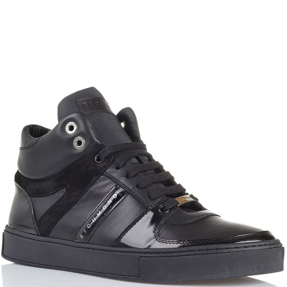 Высокие кожаные кеды черного цвета Richmond с лаковыми и замшевыми деталями