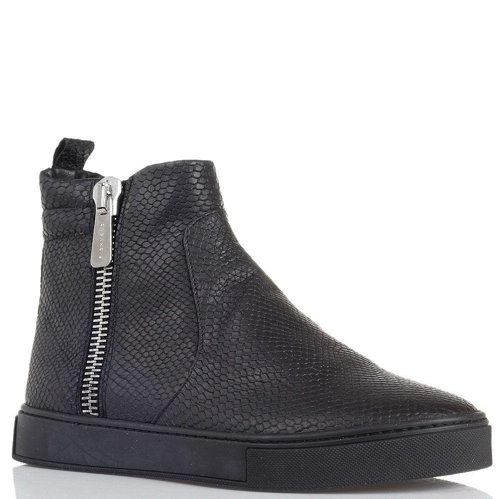 Ботинки из кожи с тиснением под змею черного цвета Richmond на молнии