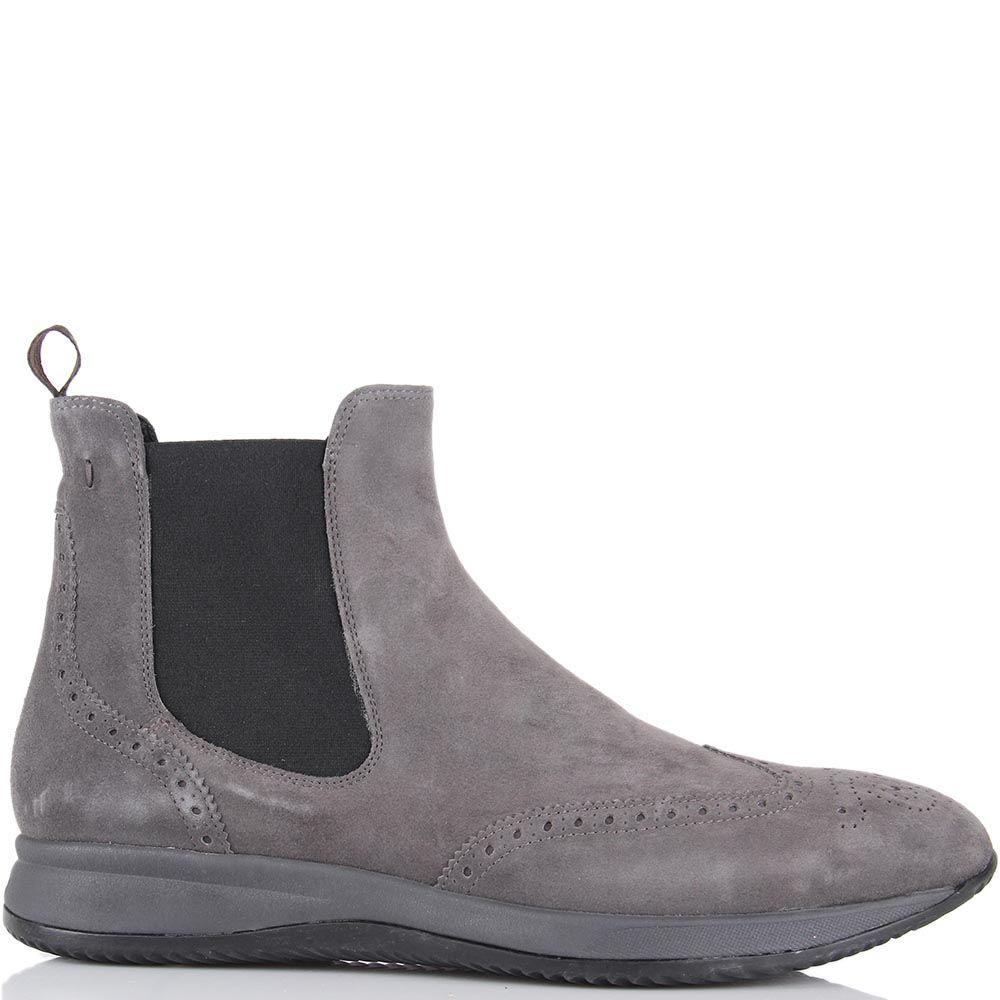 Демисезонные замшевые ботинки Samsonite серого цвета со вставкой-резинкой