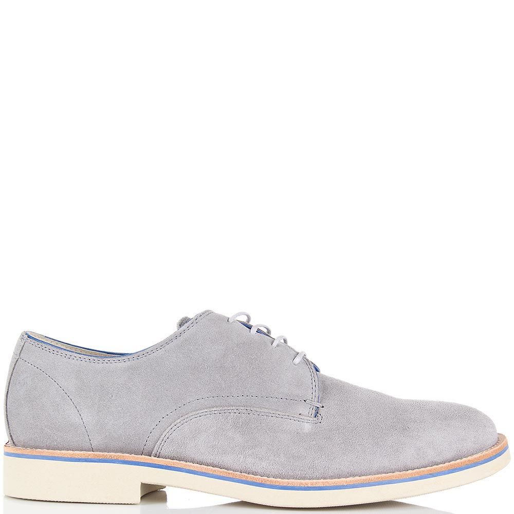 Мужские туфли Samsonite из натуральной замши светло-серого цвета на белой подошве