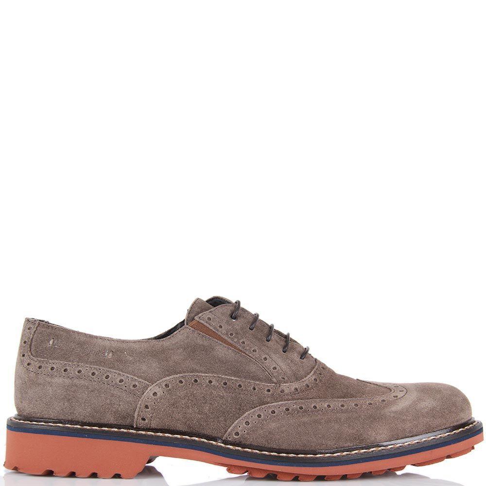 Туфли-броги Samsonite замшевые серо-коричневые