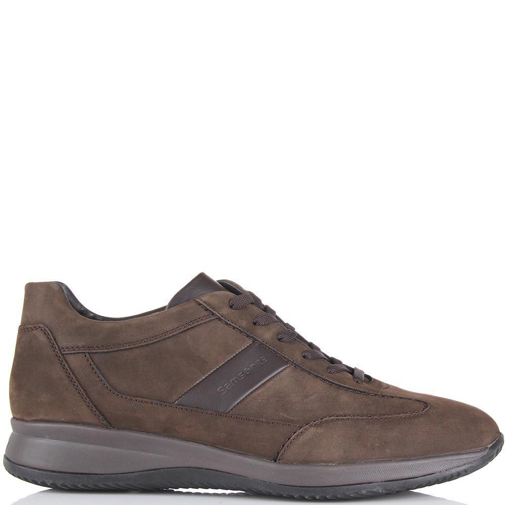 Мужские кроссовки Samsonite из нубука коричневого цвета с кожаной вставкой