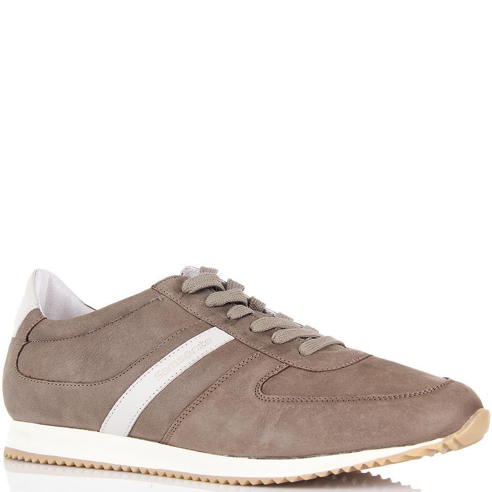 Кожаные кроссовки Samsonite светло-коричневого цвета из кожи и текстиля