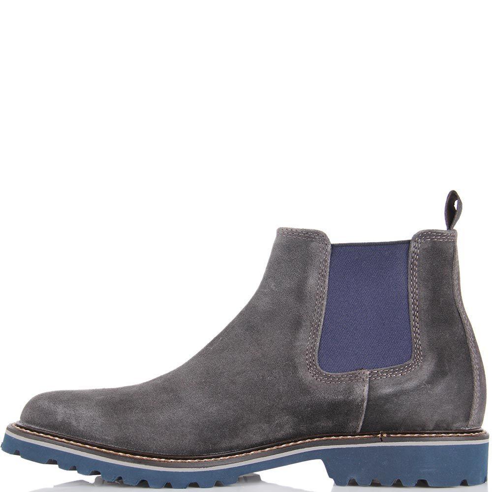 Замшевые ботинки Samsonite серого цвета со вставкой-резинкой синего цвета