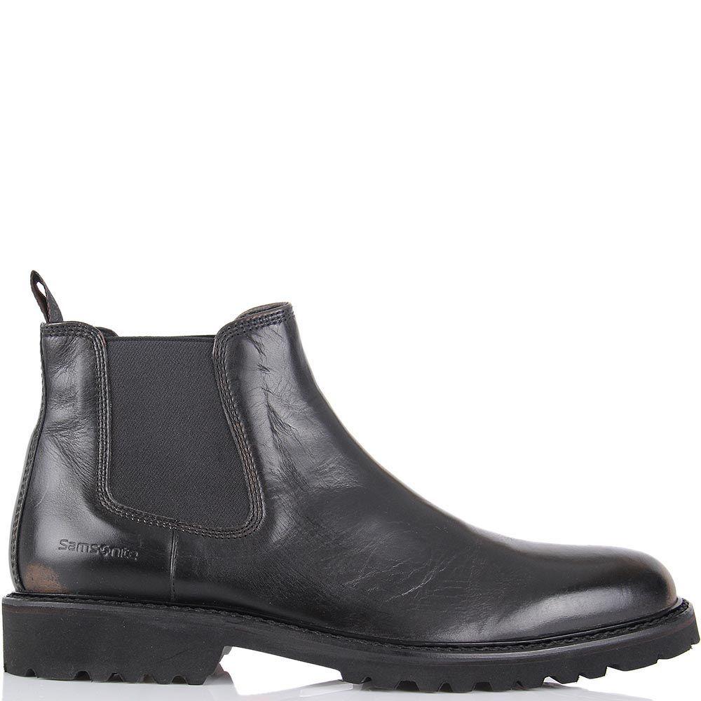 Мужские ботинки Samsonite из гладкой кожи черного цвета с эффектом потертостей