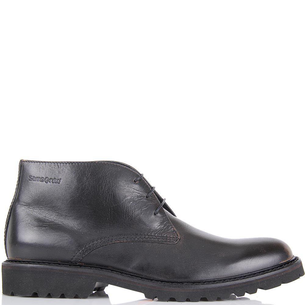 Кожаные ботинки Samsonite коричневые с эффектом потертостей