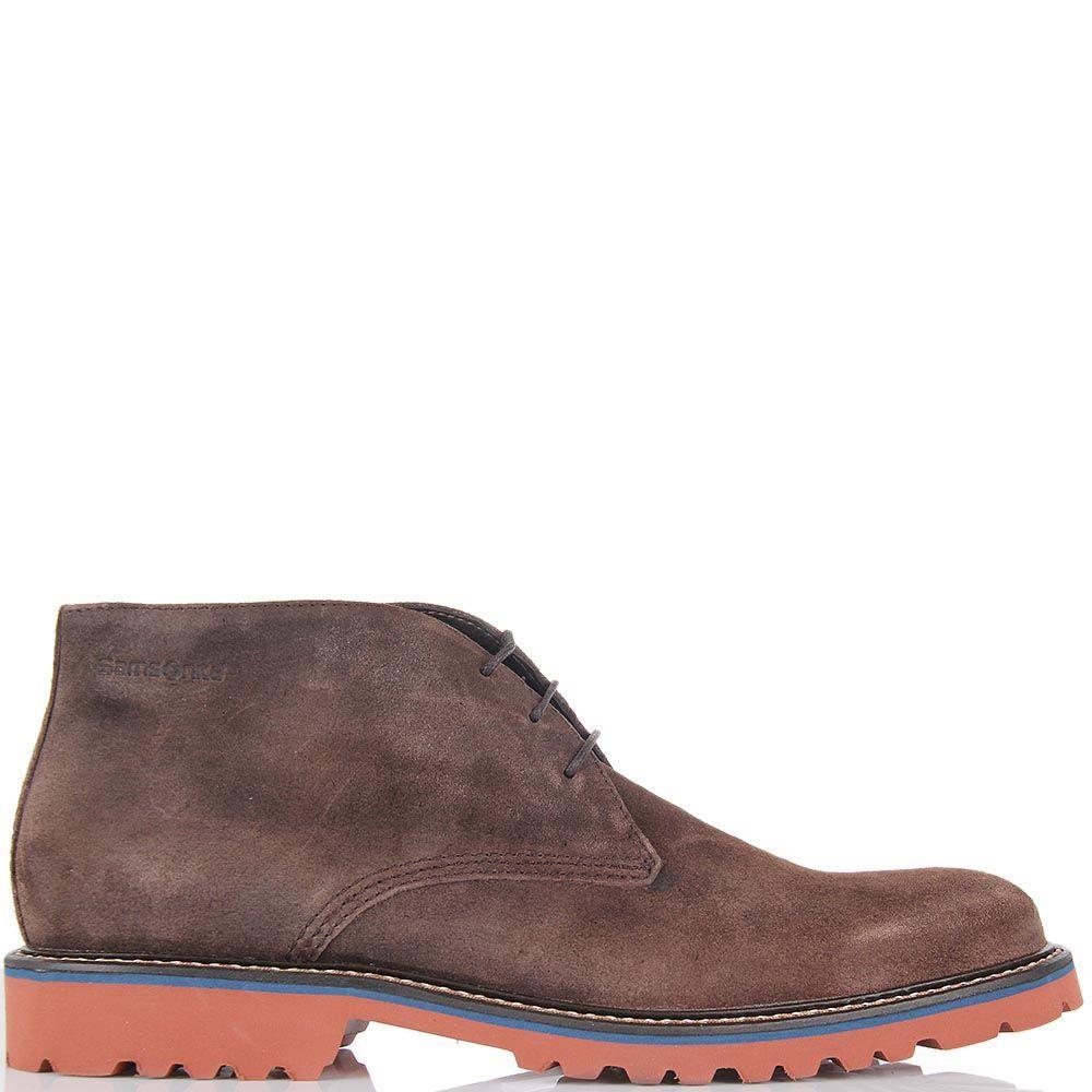 Мужские ботинки Samsonite из коричневой замши с рыжей подошвой