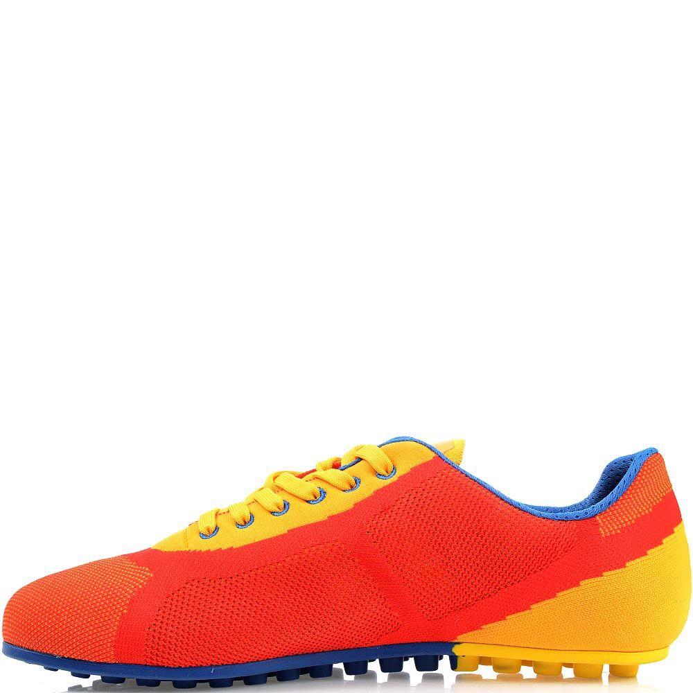 Текстильные кроссовки Bikkembergs ярко-красного цвета с желтыми вставками