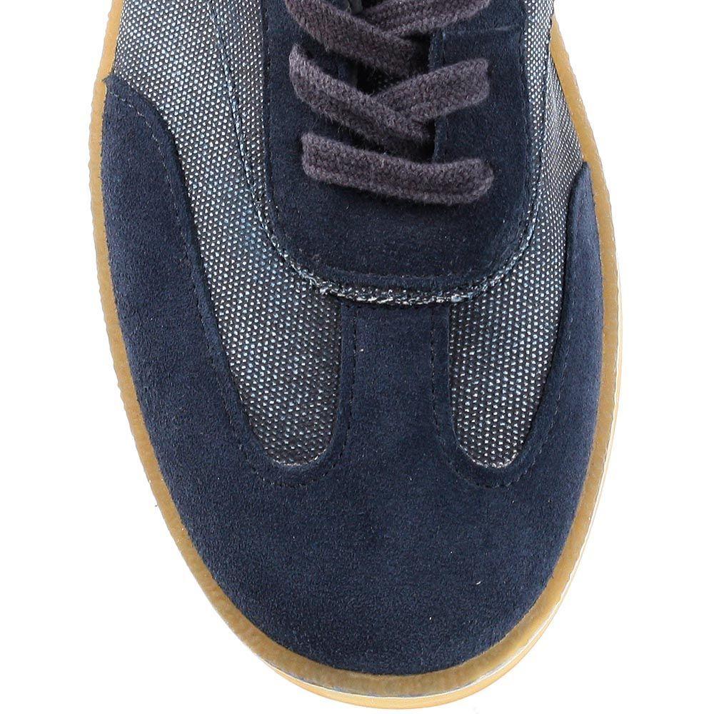Завышенные кеды Bikkembergs из джинса и замши синего цвета