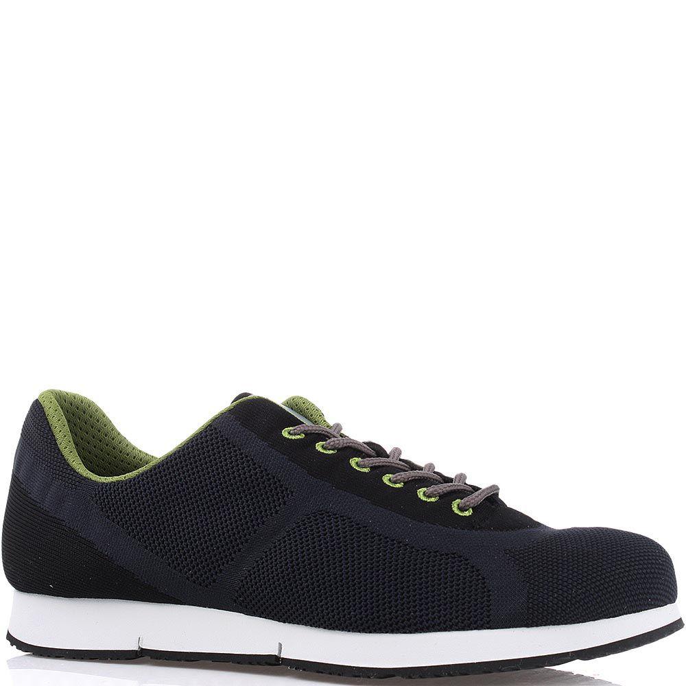 Текстильные мужские кроссовки Bikkembergs темно-синего цвета с зеленой шнуровкой