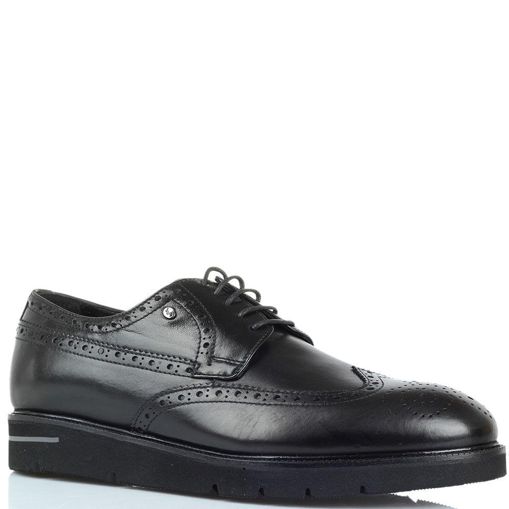 Черные кожаные туфли-броги Roberto Serpentini на толстой подошве