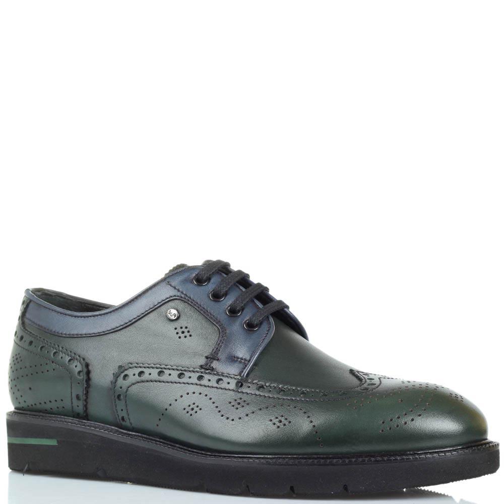 Кожаные туфли-броги зеленого цвета Roberto Serpentini на толстой подошве