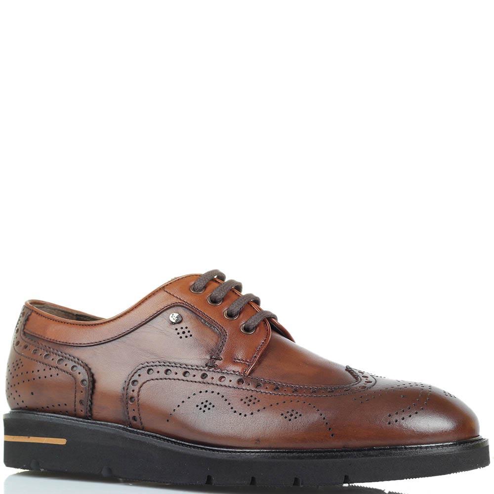 Кожаные туфли-броги коричневого цвета Roberto Serpentini на толстой подошве