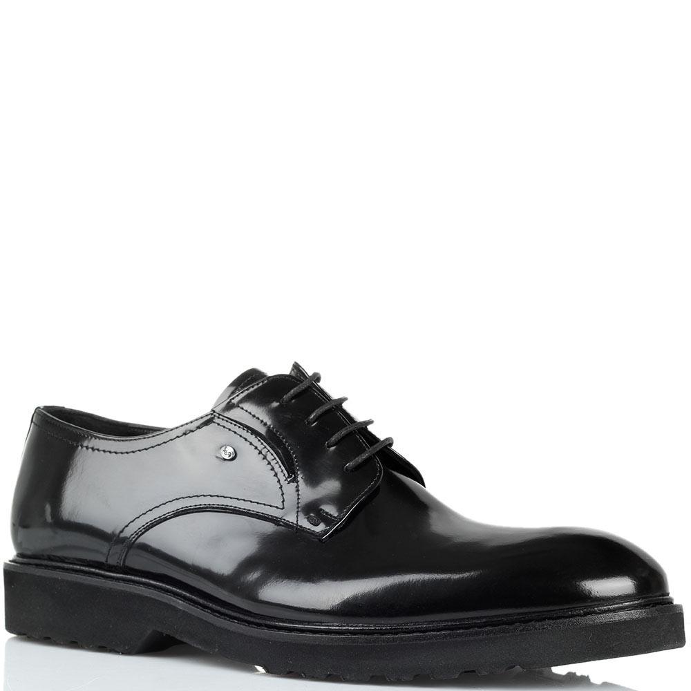 Туфли из полированной кожи черного цвета Roberto Serpentini на толстой подошве