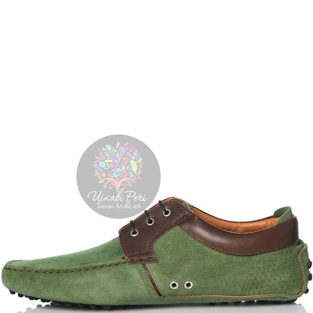 Туфли Sutor Mantellassi на шипованной подошве замшевые зеленые с коричневой кожаной отделкой