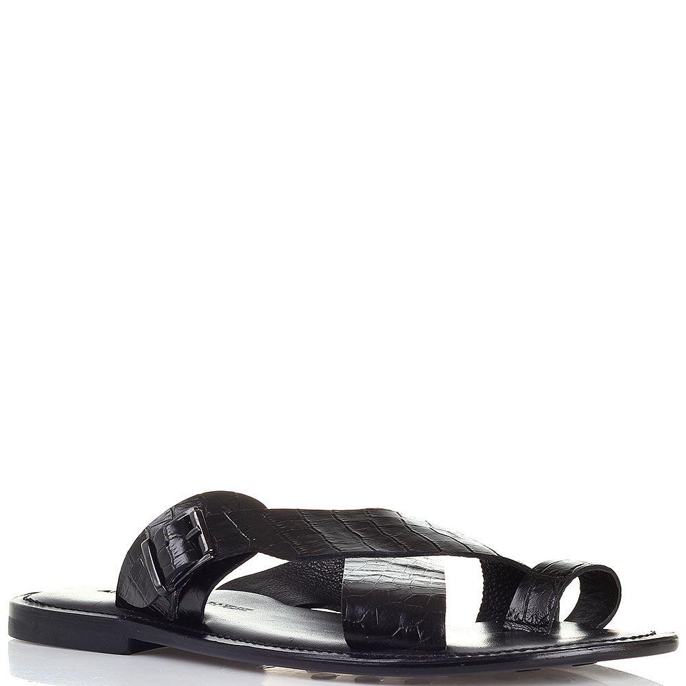 Кожаные сланцы черного цвета с тиснением под крокодила Alessandro Farnese