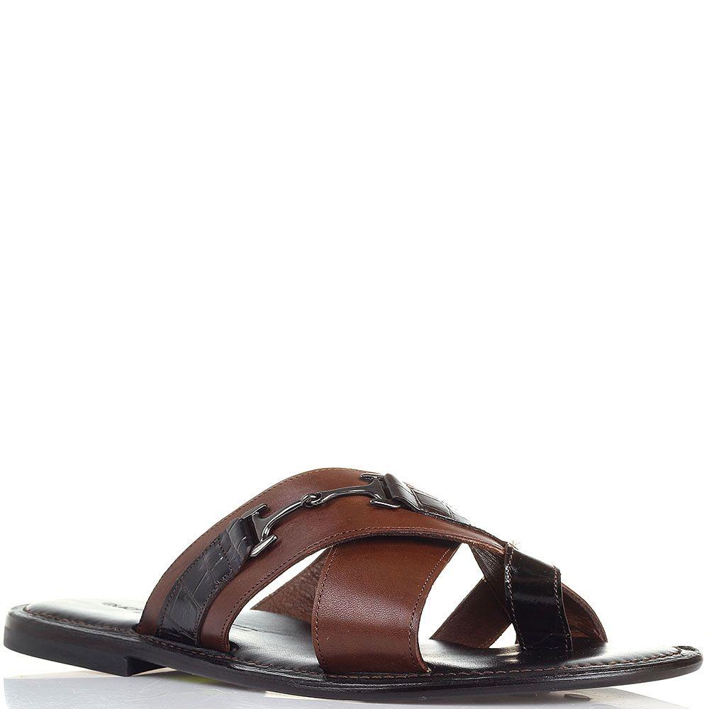 Кожаные сланцы коричневого цвета Guerrino Marsili