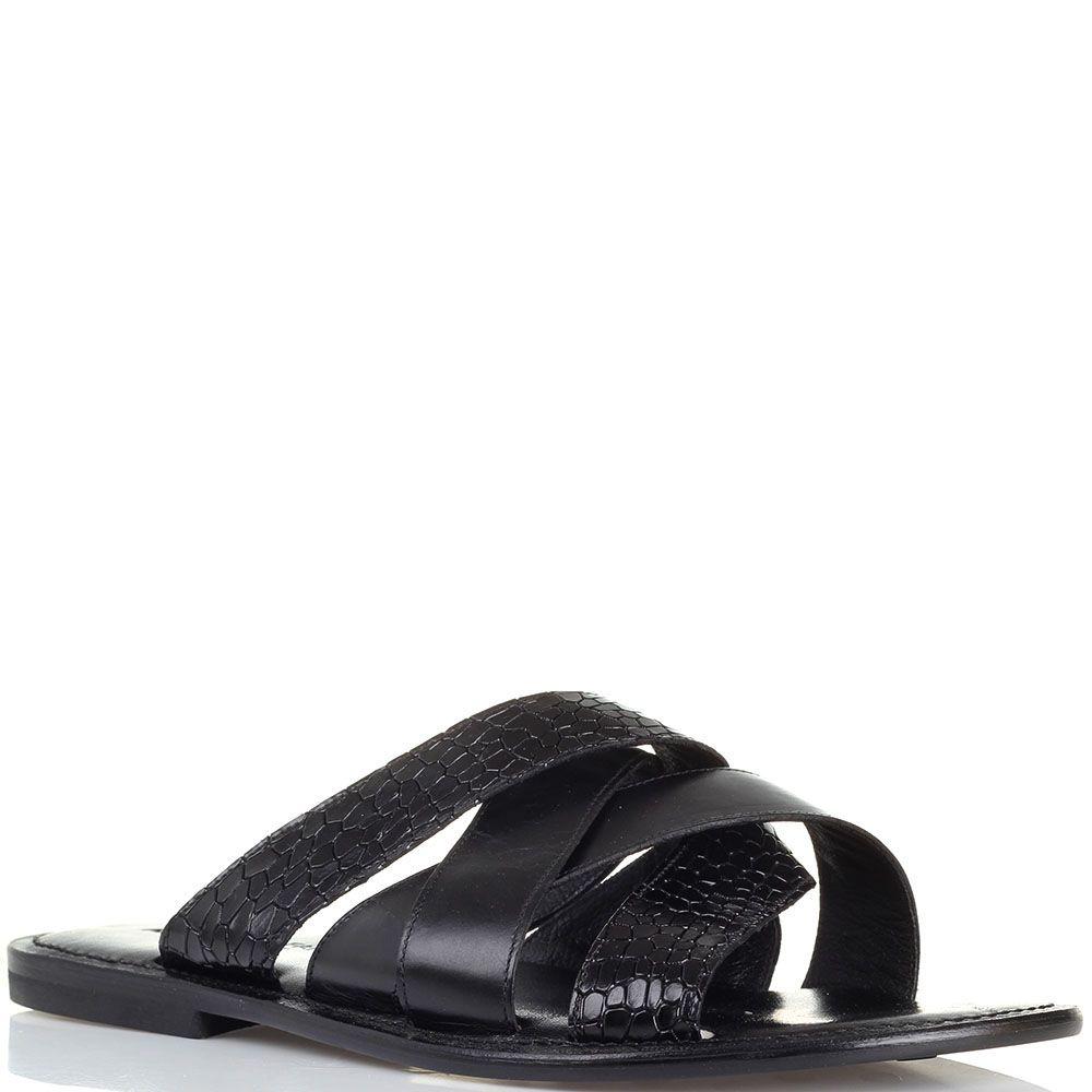 Кожаные сланцы черного цвета с лаковыми ремешками тиснеными под рептилию Alessandro Farnese