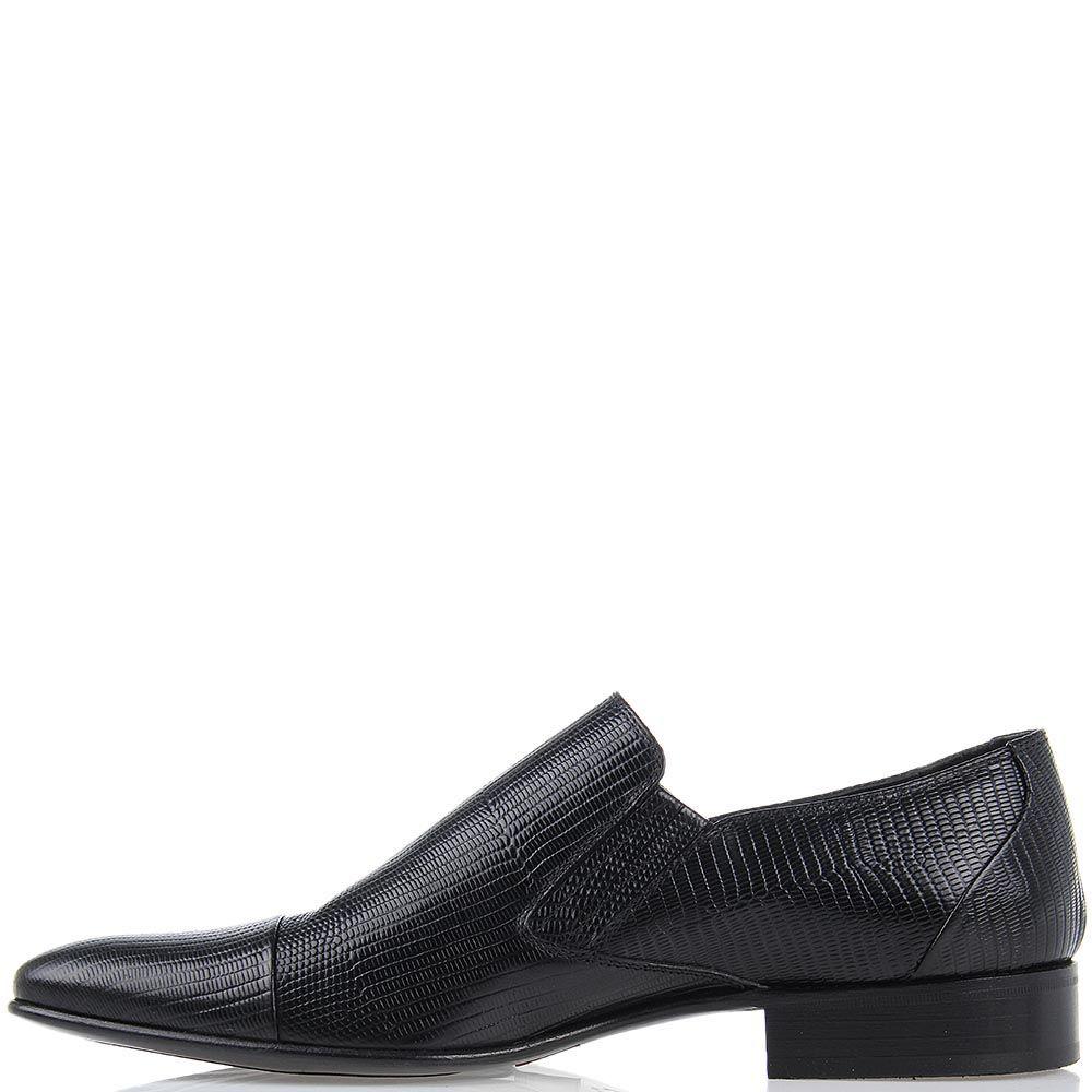 Мужские туфли Roberto di Paolo из кожи варана черного цвета со вставками-резинками