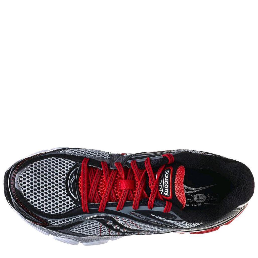 Беговые кроссовки Saucony ProGrid Omni 11 Med серо-черные с красной отделкой