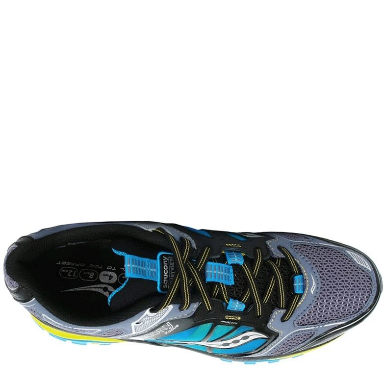 Беговые кроссовки Saucony XODUS 4,0 серые с голубым и желтым