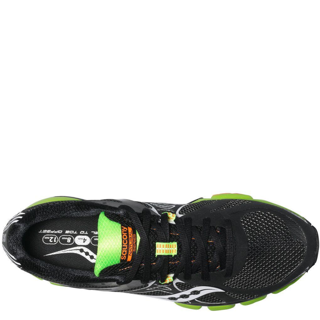 Беговые мужские кроссовки Saucony Mirage 4 черные с белым и ярко-зеленым