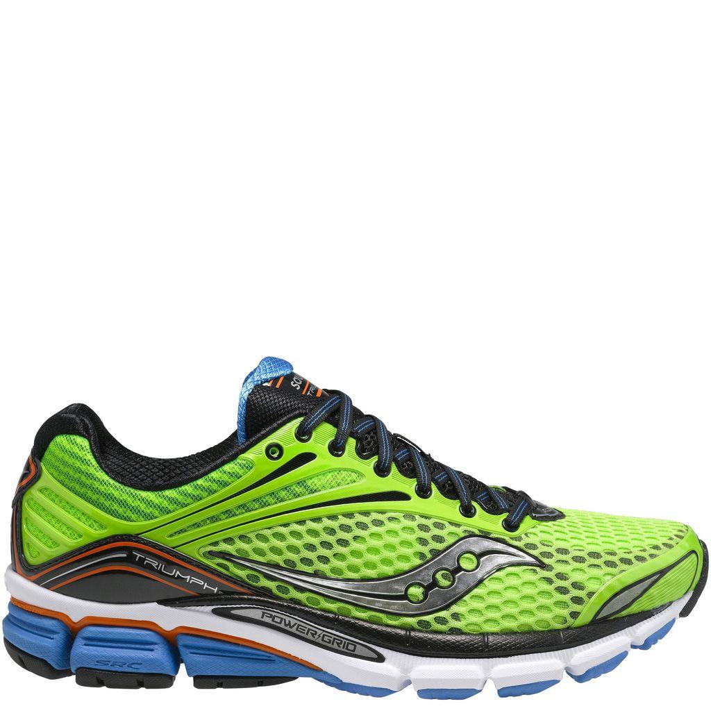 Беговые мужские кроссовки Saucony Triumph 11 зеленые с голубым и оранжевым