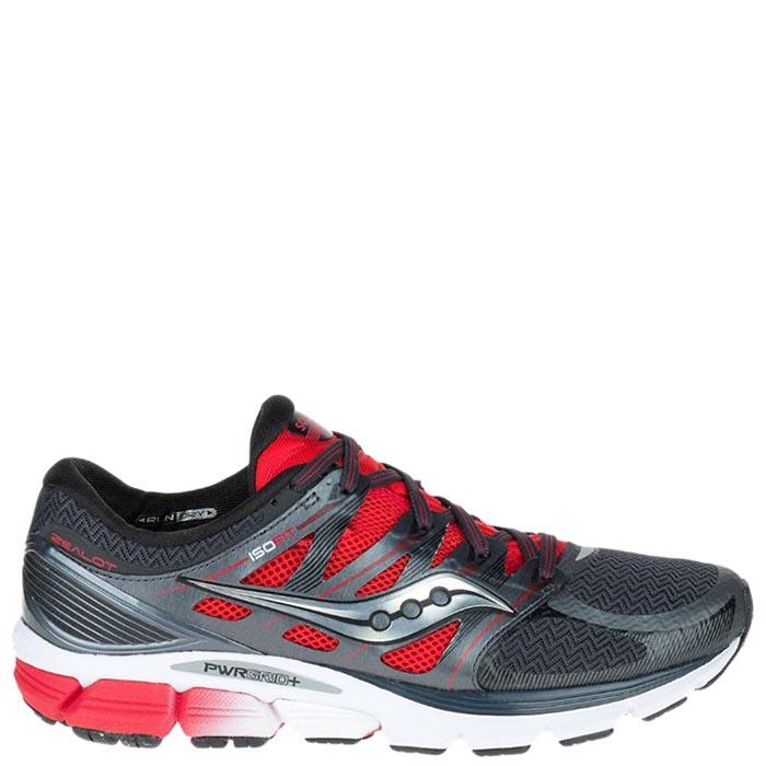 Мужские кроссовки Saucony ZEALOT ISO 2016'SS серые с красными элементами