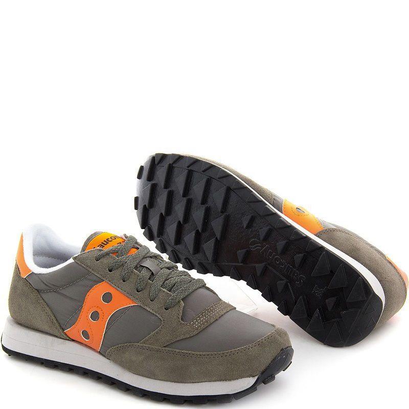 Мужские кроссовки Saucony Jazz Original цвета хаки с оранжевым
