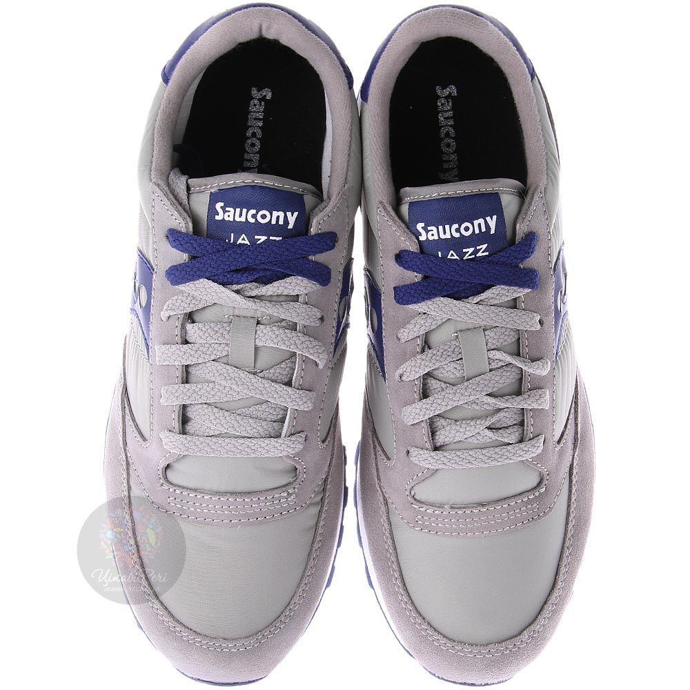 Мужские кроссовки Saucony Jazz Original серо-бежевые с синей вставкой