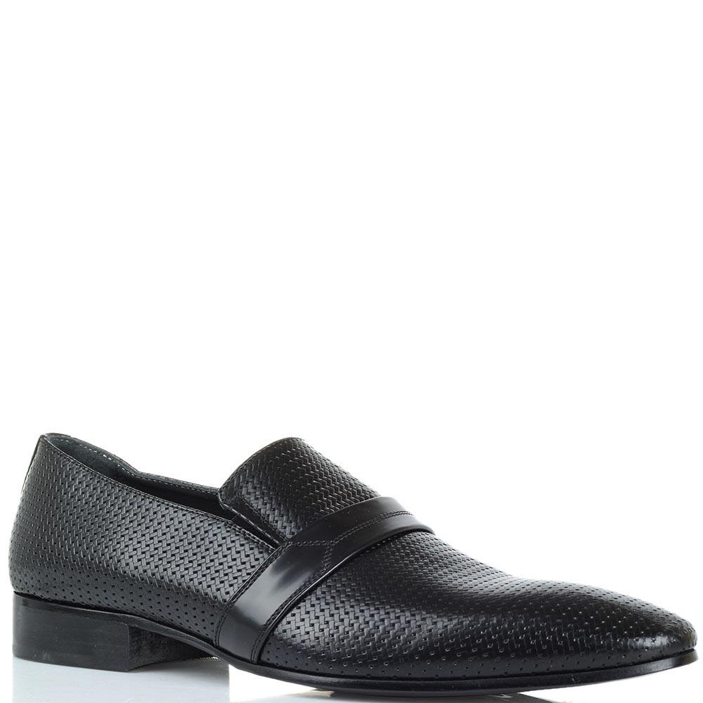 Кожаные туфли с эффектом плетения Giovanni Conti черного цвета