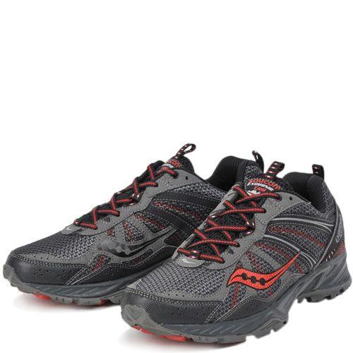 Мужские беговые кроссовки Saucony Excursion TR8 серо-черные с красным