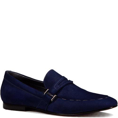 Туфли Modus Vivendi из нубука синего цвета с серебристой пряжкой